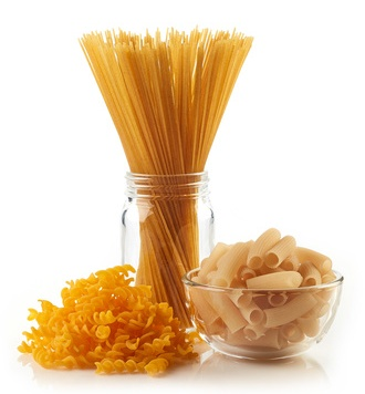 Various gluten free pasta (from rice, corn and buckwheat flour) isolated on white background